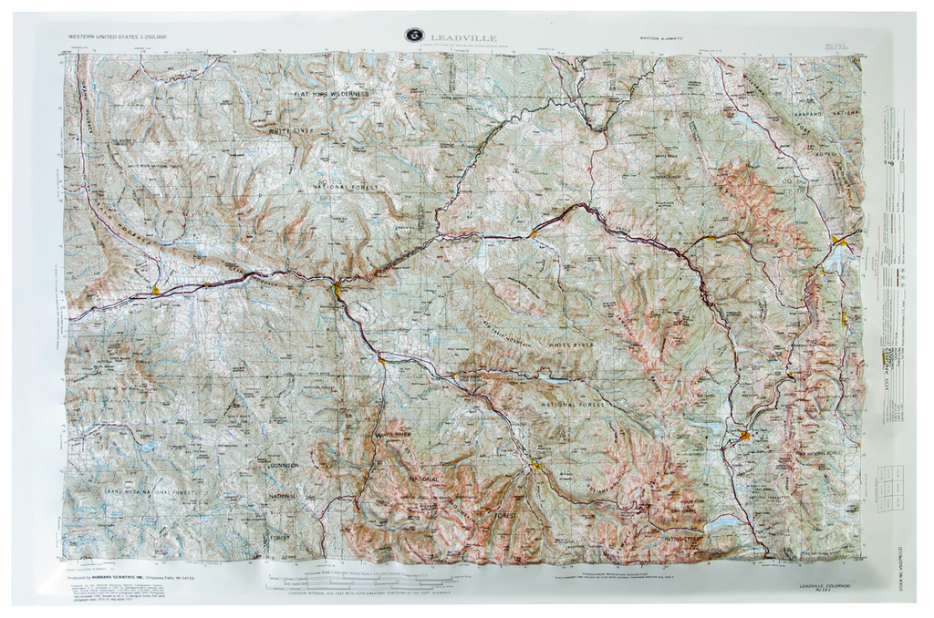 Leadville USGS Regional Raised Relief Three Dimensional 3D map