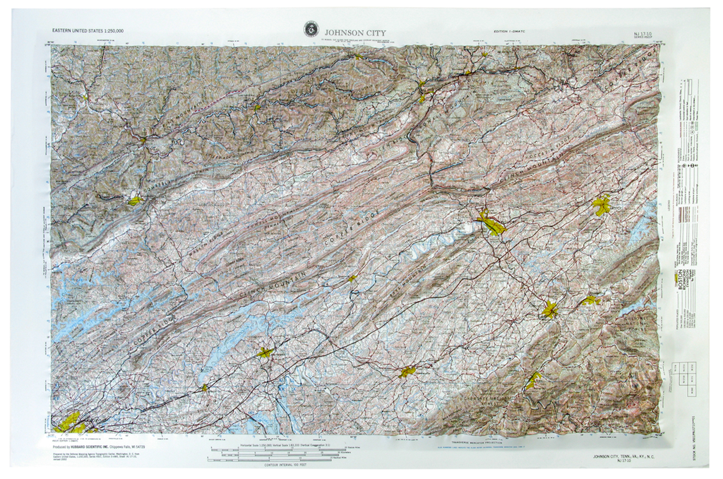 Johnson City USGS Regional Raised Relief Three Dimensional 3D map