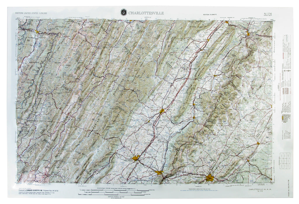 Charlottesville USGS Regional Raised Relief Three Dimensional 3D map