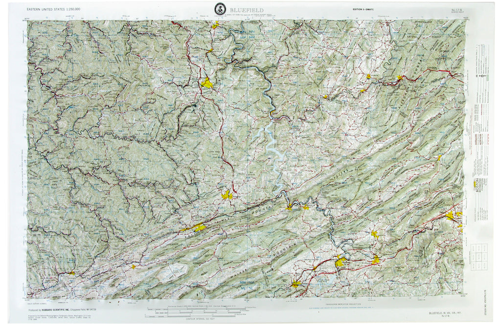 Bluefield USGS Regional Raised Relief Three Dimensional 3D map