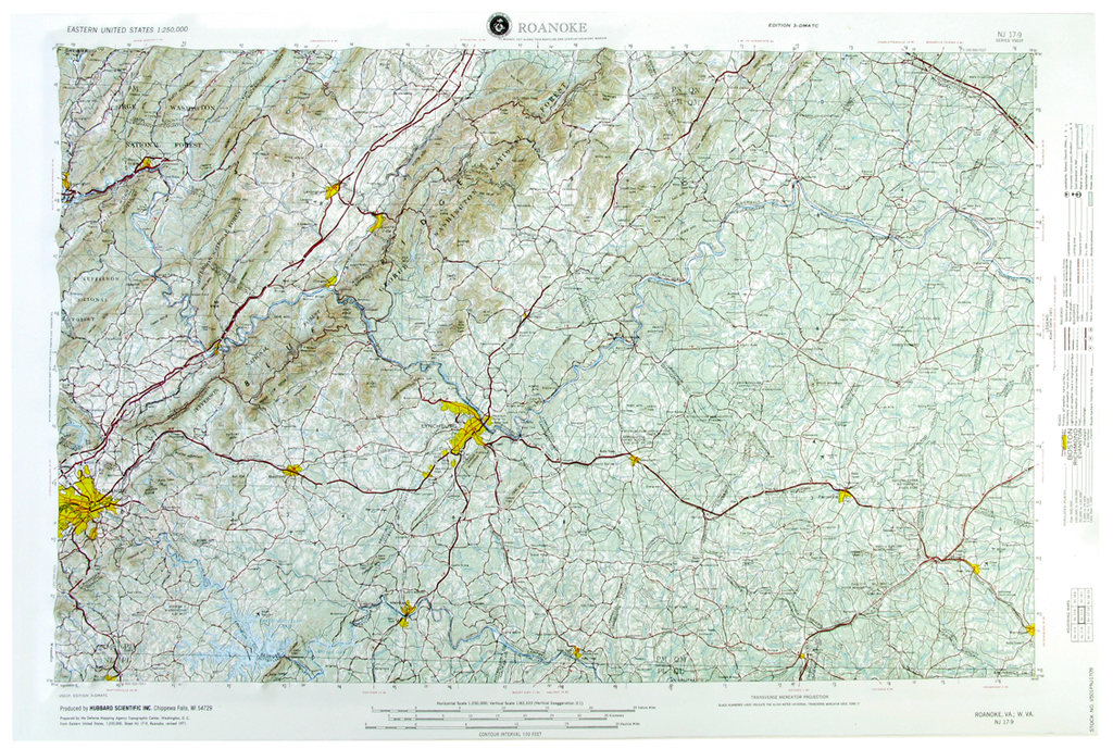 Roanoke USGS Regional Raised Relief Three Dimensional 3D map
