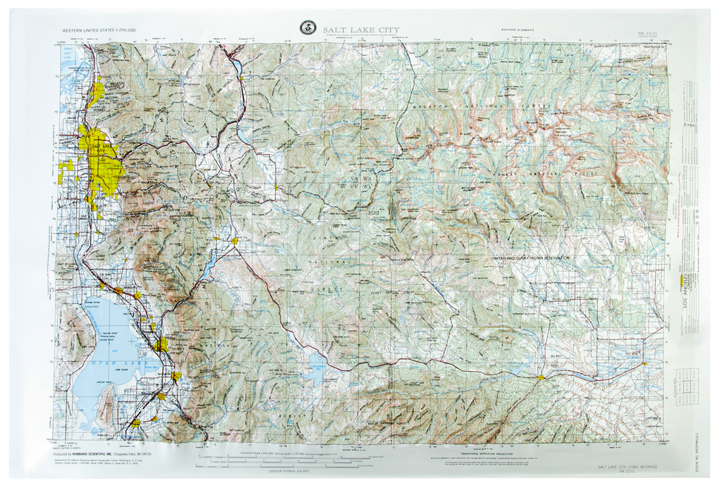 Salt Lake City USGS Regional Raised Relief Three Dimensional 3D map