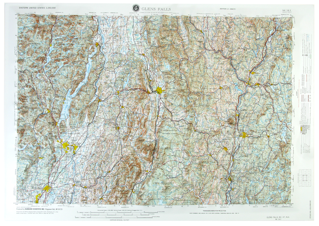 Glens Falls USGS Regional Raised Relief Three Dimensional 3D map