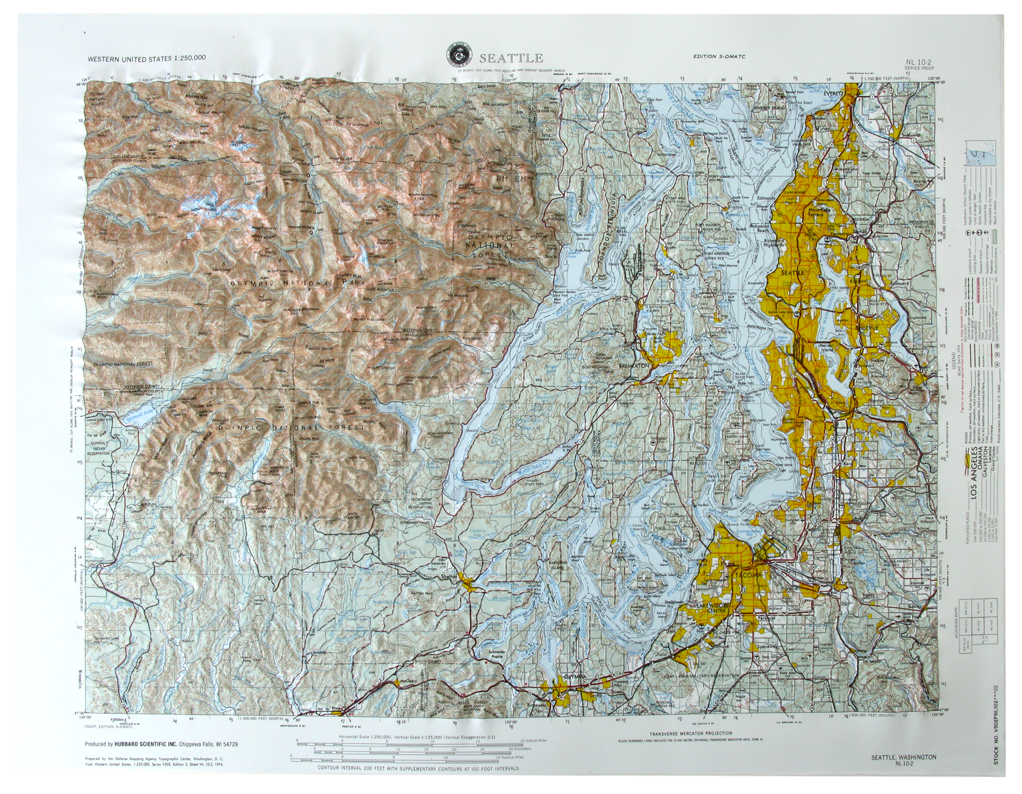 Seattle USGS Regional Raised Relief Three Dimensional 3D map