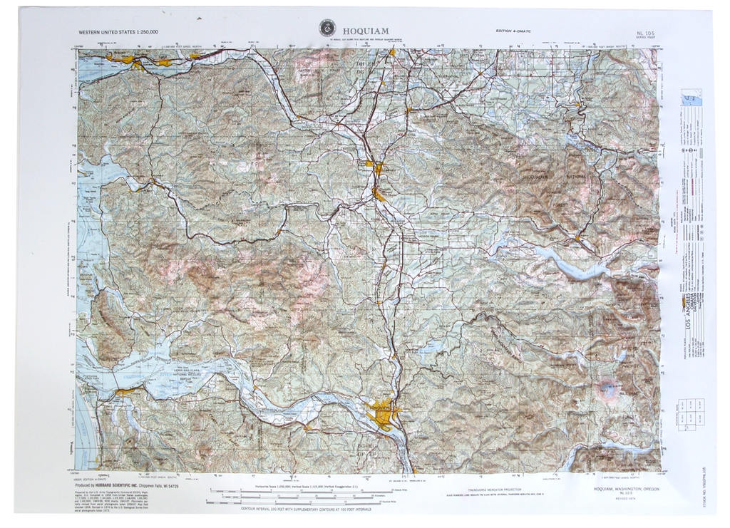 Hoquiam USGS Regional Raised Relief Three Dimensional 3D map