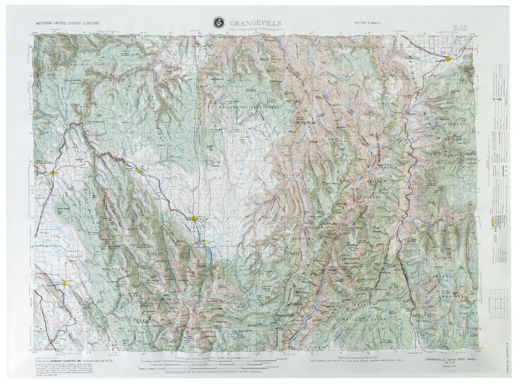 Grangeville USGS Regional Raised Relief Three Dimensional 3D map
