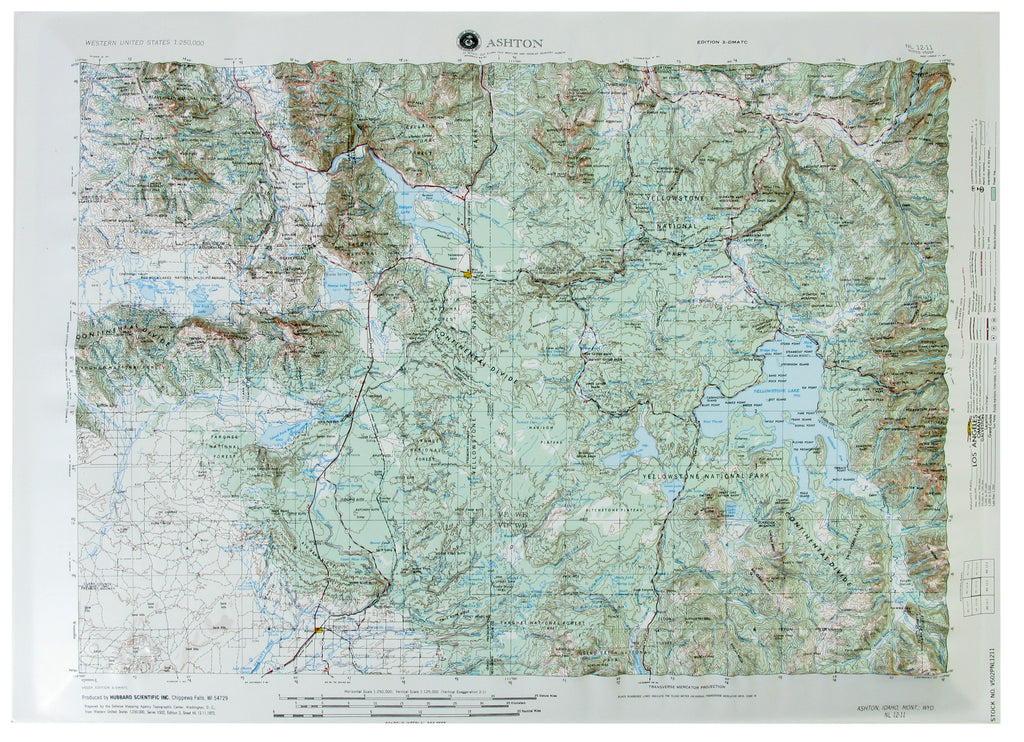 Ashton USGS Regional Raised Relief Three Dimensional 3D map