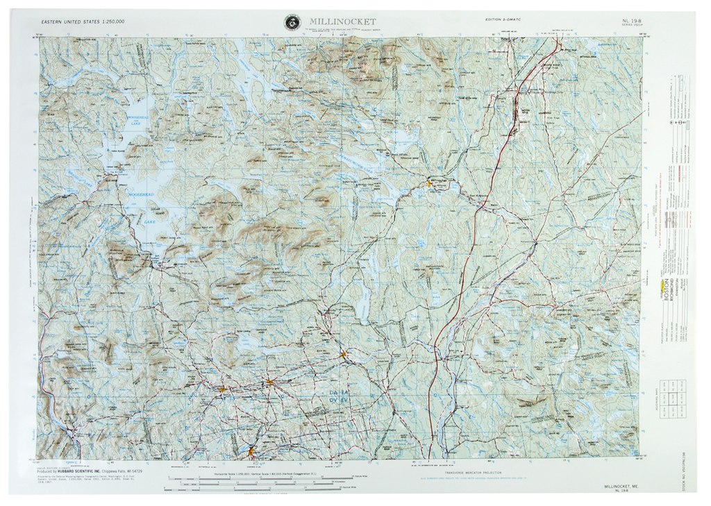 Millinocket USGS Regional Raised Relief Three Dimensional 3D map