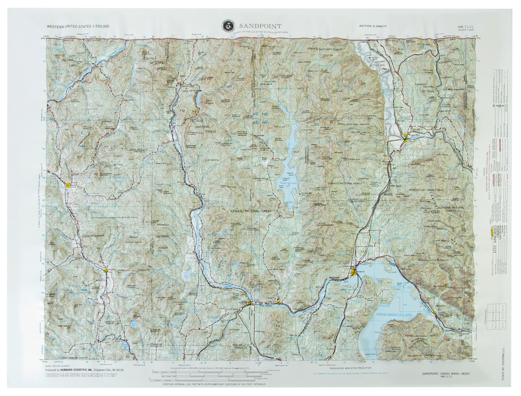 Sandpoint USGS Regional Raised Relief Three Dimensional 3D map