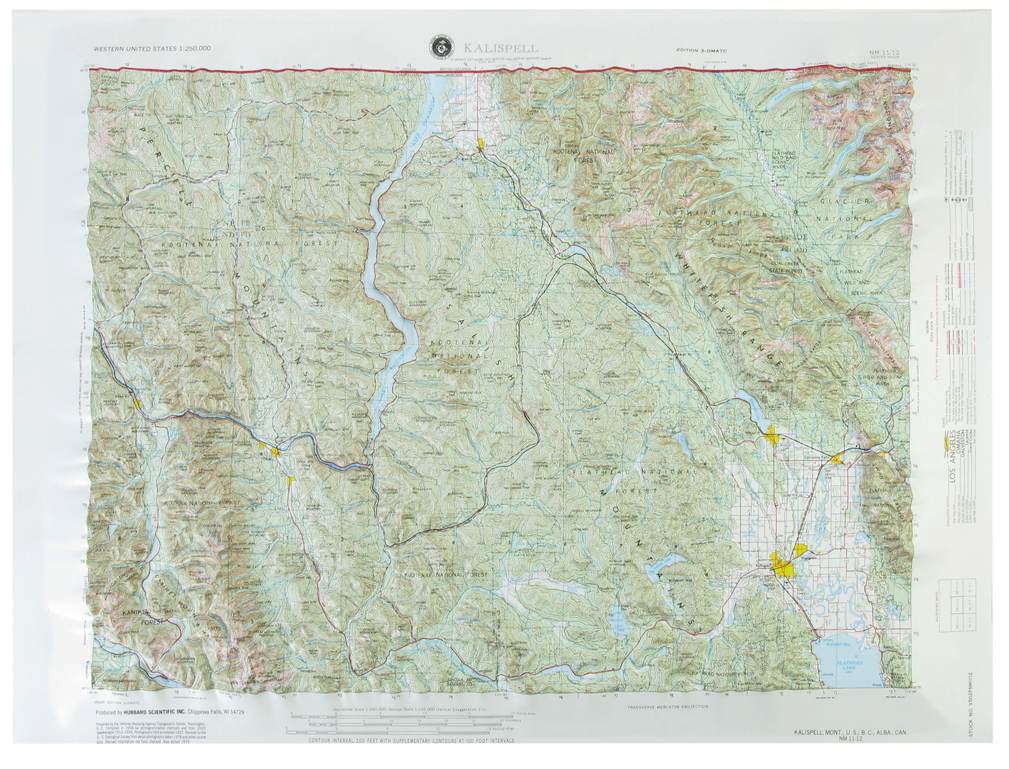 Kalispell USGS Regional Raised Relief Three Dimensional 3D map