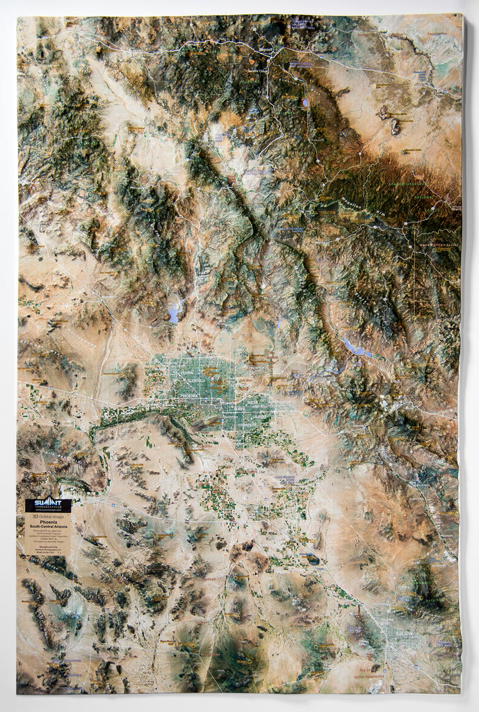 Phoenix South Central Arizona Satellite Image Three Dimensional 3D Raised Relief Map
