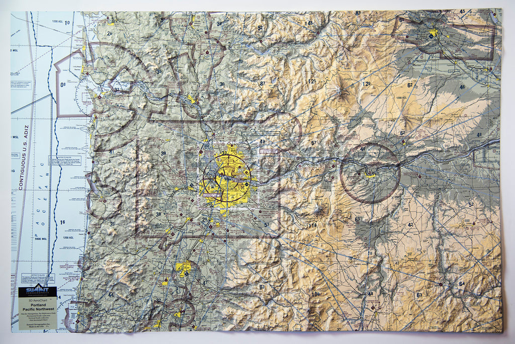 Portland Aerochart Three Dimensional 3D Raised Relief Map
