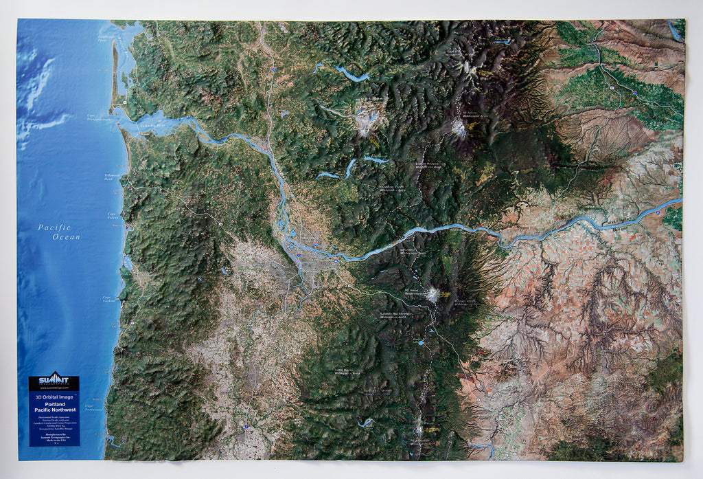 Portland Pacific Northwest Satellite Image Three Dimensional 3D Raised Relief Map