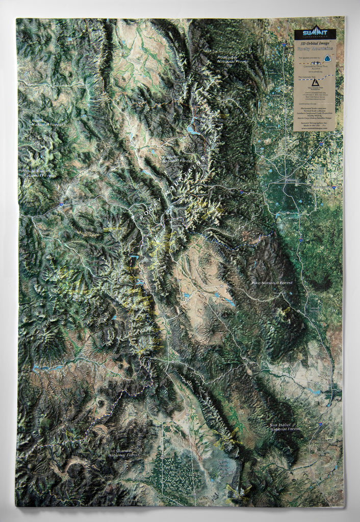 Colorado Rocky Mountains Satellite Image Three Dimensional 3D Raised Relief Map