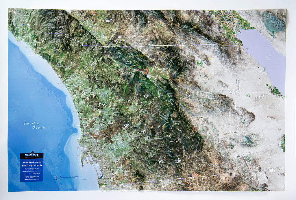 San Diego County Satellite Image Three Dimensional 3D Raised Relief Map
