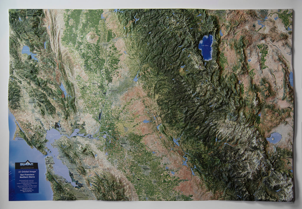Central California & Northern Sierra Satellite Image Three Dimensional 3D Raised Relief Map