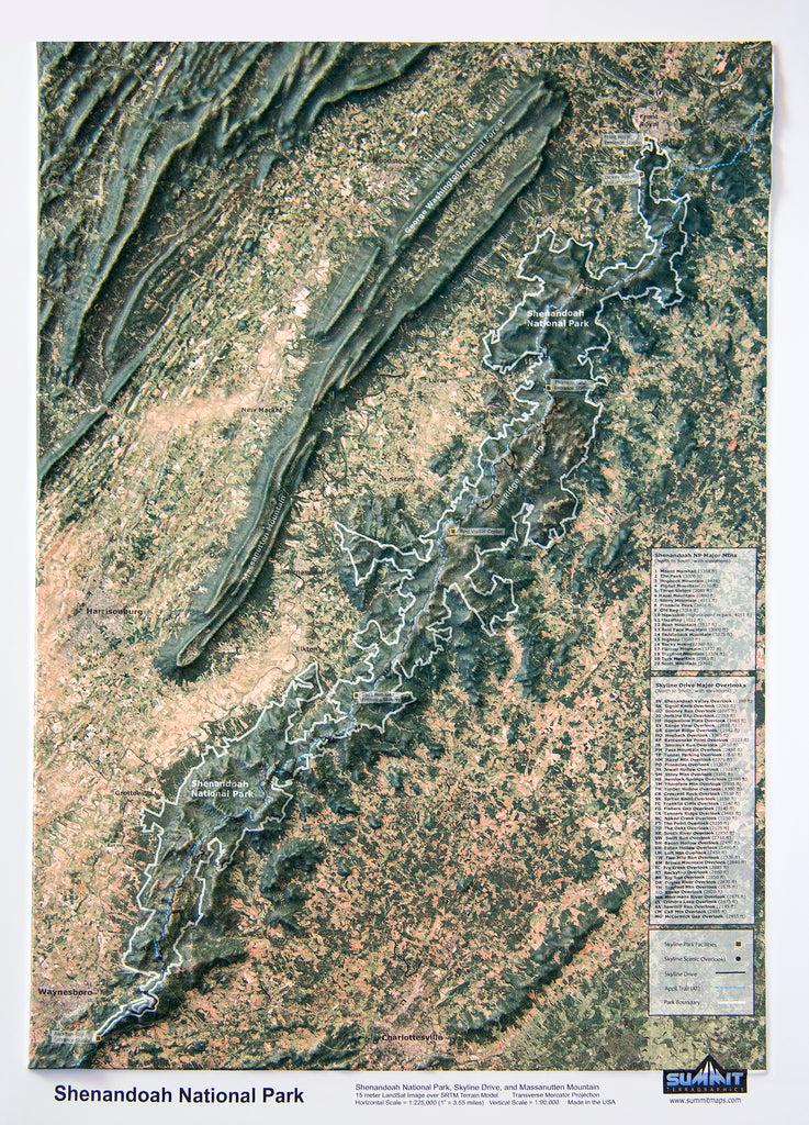 Shenandoah National Park Three Dimensional 3D Raised Relief Map