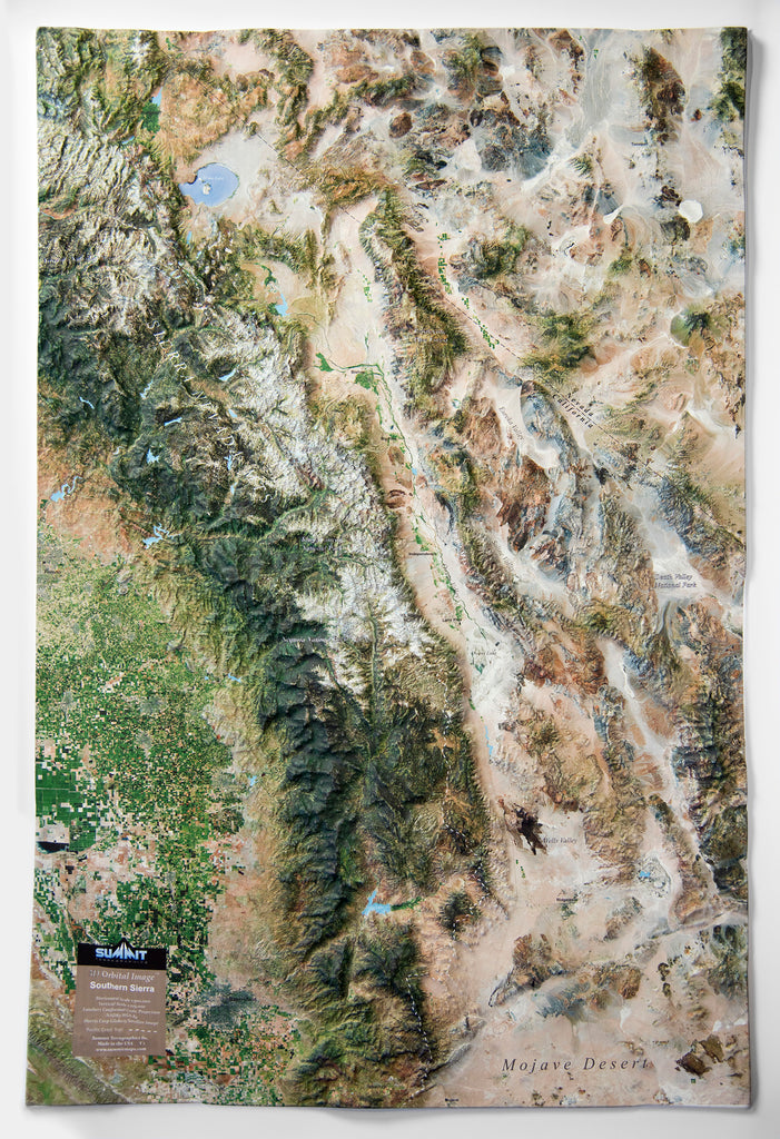 Southern Sierra Satellite Image Three Dimensional 3D Raised Relief Map