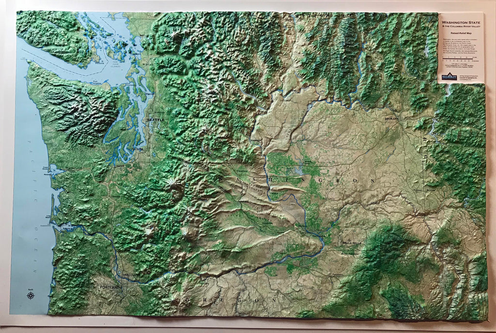 Washington State Three Dimensional 3D Raised Relief Map