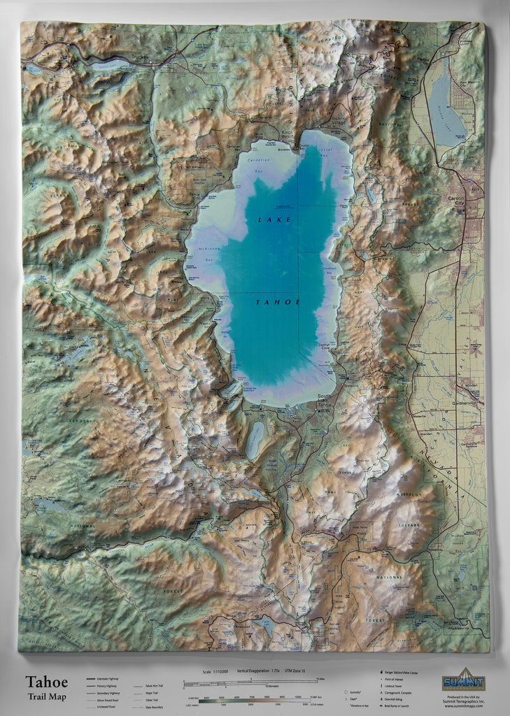 Tahoe Trail Map Three Dimensional 3D Raised Relief Map