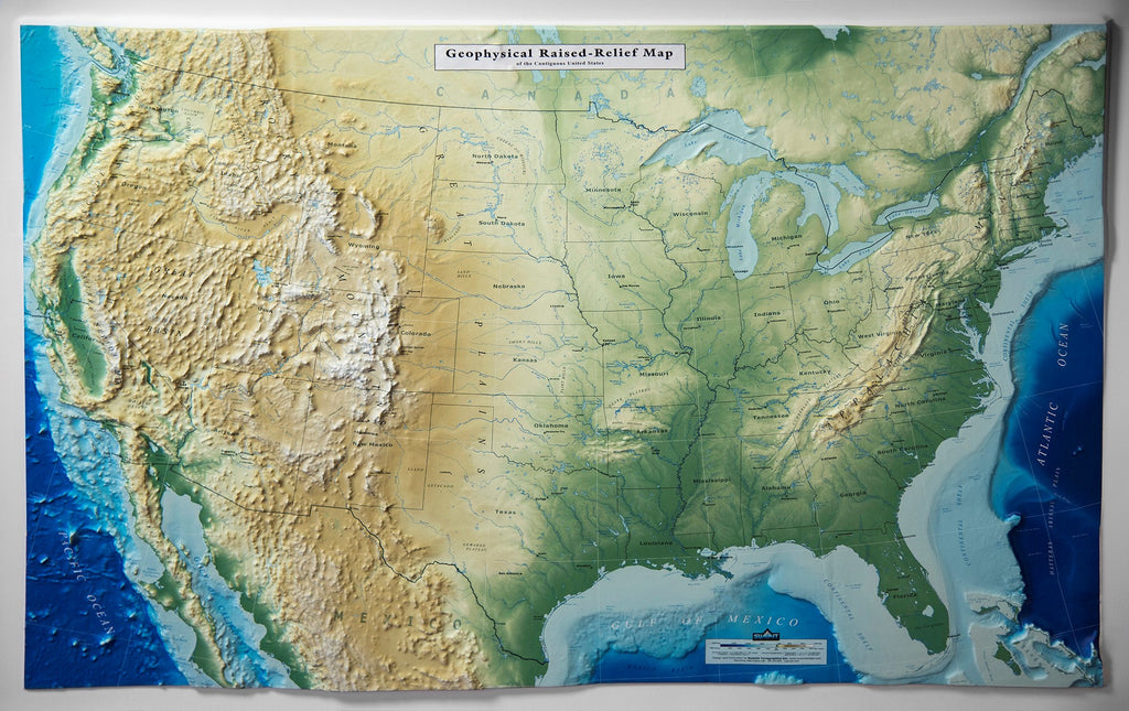 United States - Geophysical Three Dimensional 3D Raised Relief Map