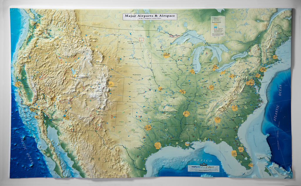 United States - Major Airports & Airspace Three Dimensional 3D Raised Relief Map