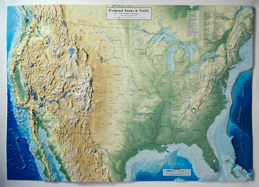 United States - National Parks & Trails Three Dimensional 3D Raised Relief Map