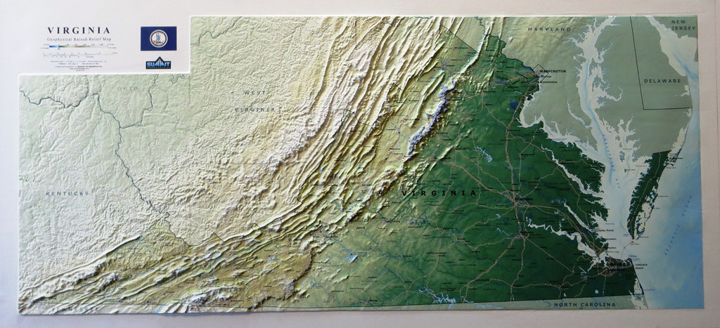 Virginia State Three Dimensional 3D Raised Relief Map