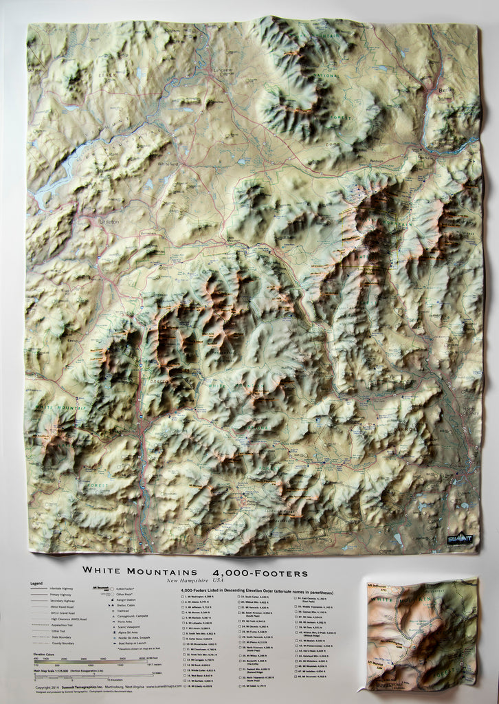 White Mountains 4000 Footers Three Dimensional 3D Raised Relief Map