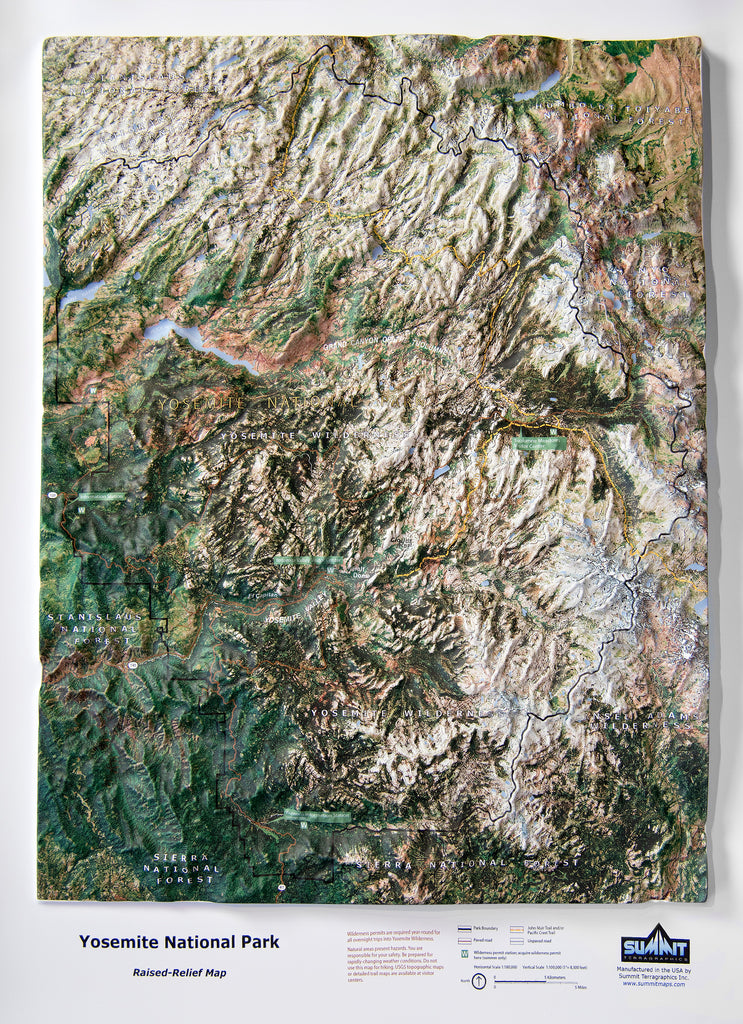 Yosemite National Park Satellite Image Three Dimensional 3D Raised Relief Map