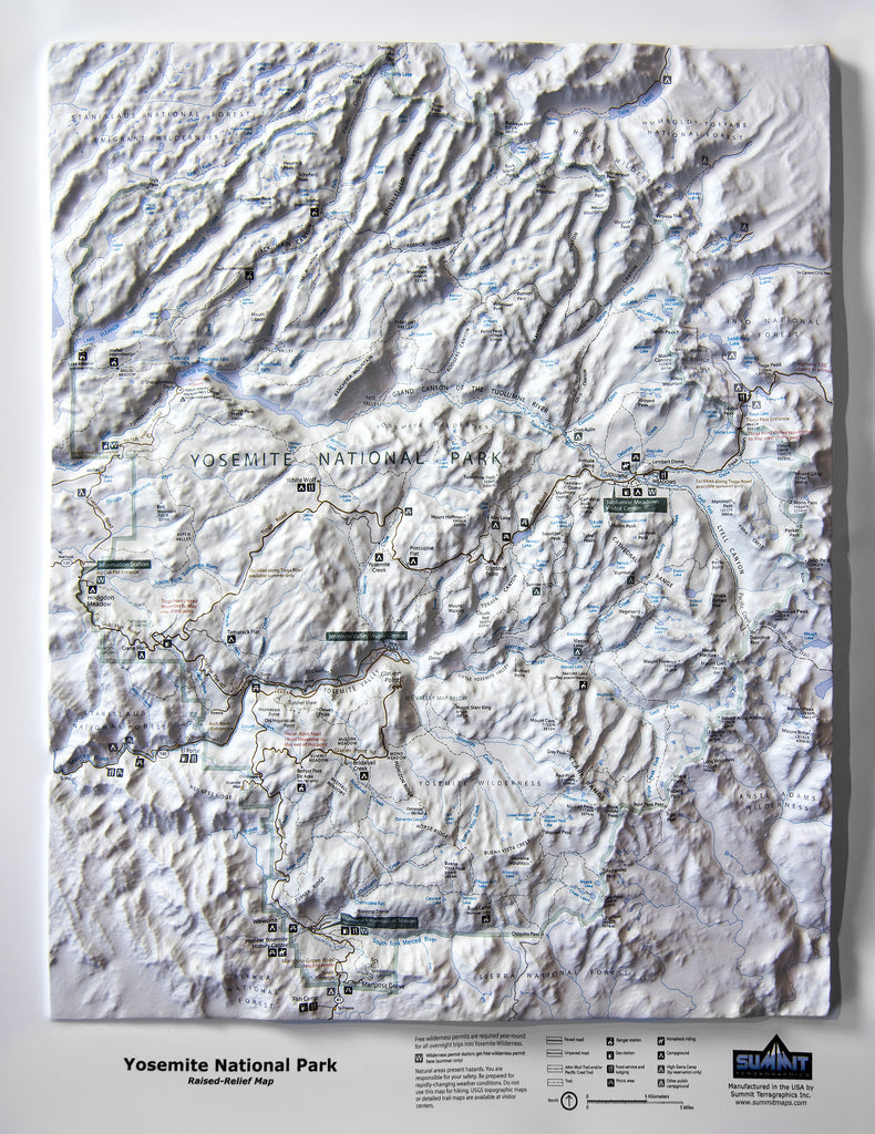 Yosemite National Park Trail Map Three Dimensional 3D Raised Relief Map