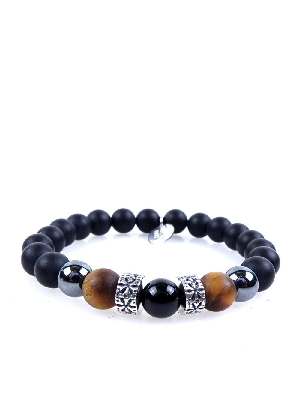 Stone bracelet • TRIBAL Collection • Satin onyx, tiger eye, hematite and 925 silver