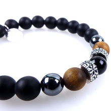 Load image into Gallery viewer, Stone bracelet • TRIBAL Collection • Satin onyx, tiger eye, hematite and 925 silver