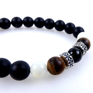 Stone bracelet • TRIBAL Collection • Satin onyx, tiger eye, mother of pearl and 925 silver