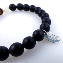 Load image into Gallery viewer, Stone bracelet • TRIBAL Collection • Satin onyx, tiger eye, mother of pearl and 925 silver