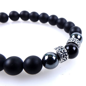 Stone bracelet • TRIBAL Collection • Satin onyx, hematite and 925 silver