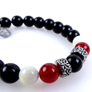 Stone bracelet • TRIBAL Collection • Polished onyx, carnelian, mother of pearl and 925 silver