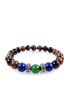 Stone bracelet • TRIBAL Collection • Tiger's eye, lapis lazuli, green aventurine and 925 silver