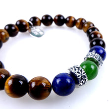 Load image into Gallery viewer, Stone bracelet • TRIBAL Collection • Tiger's eye, lapis lazuli, green aventurine and 925 silver