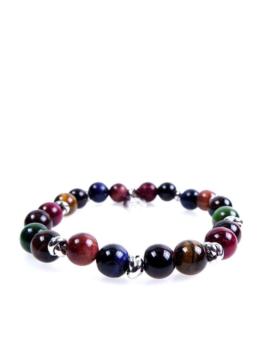 Stone bracelet • NODO Collection • Multicolor tiger eye and 925 silver