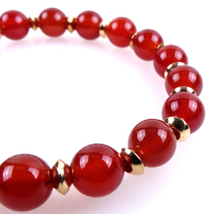 Hard stone bracelet • FEMME Collection • Carnelian and 925 gilded silver