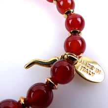 Load image into Gallery viewer, Hard stone bracelet • FEMME Collection • Carnelian and 925 gilded silver