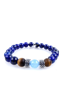 Stone bracelet • TRIBAL Collection • Lapis lazuli, tiger eye, light blue aventurine and 925 silver