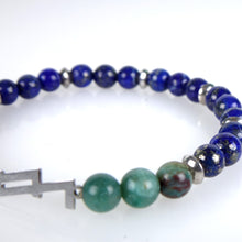 Load image into Gallery viewer, Stone bracelet • ZETA Collection • Sodalite, green jasper and 925 silver