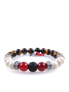 Stone bracelet • HORN Collection • tiger eye, white jasper, carnelian, lava stone and 925 silver
