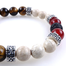 Load image into Gallery viewer, Stone bracelet • HORN Collection • tiger eye, white jasper, carnelian, lava stone and 925 silver