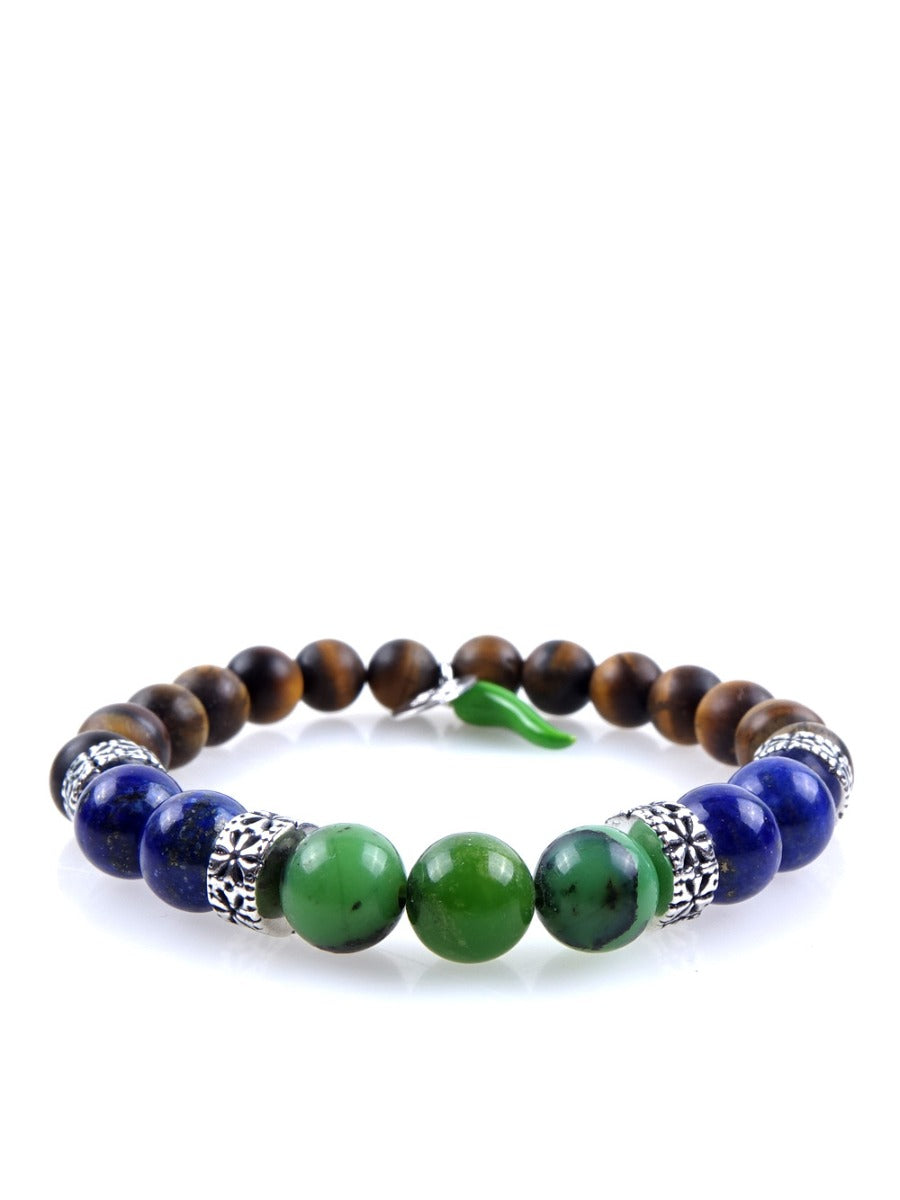 Stone bracelet • HORN Collection • tiger eye, lapis lazuli, chrysoprase and 925 silver