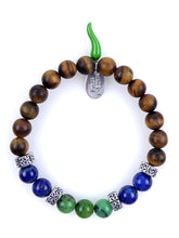Load image into Gallery viewer, Stone bracelet • HORN Collection • tiger eye, lapis lazuli, chrysoprase and 925 silver