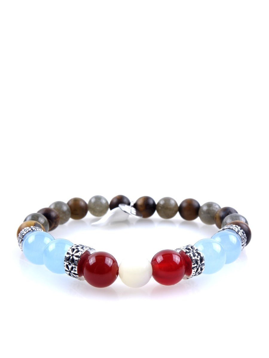 Stone bracelet • HORN Collection • tiger eye, labradorite, aventurine, carnelian and 925 silver