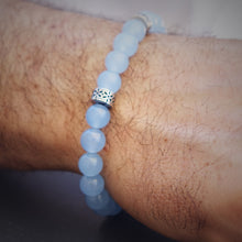 Load image into Gallery viewer, Stone bracelet • TRIBAL Collection • blue agate and 925 silver